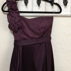 Purple special occasion one shoulder dress